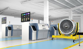 Metal 3D printer and Jet fan engine on engine stand. Stock Photography