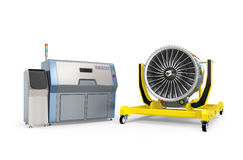 Metal 3D printer and Jet fan engine on engine stand. Royalty Free Stock Photo