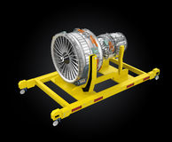 Metal 3D printer and Jet fan engine on engine stand. Royalty Free Stock Photos