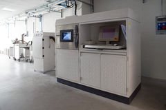 Metal 3D printers (DMLS). Direct metal laser sintering (DMLS) is an additive manufacturing technique that uses a Ytterbium fibre laser fired into a bed of Stock Photos