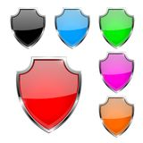 Metal 3d shields. Set of colored safety symbols. Vector illustration isolated on white background Royalty Free Stock Images
