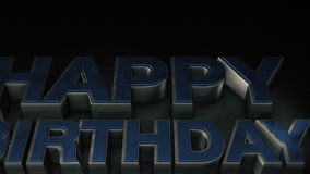 Metal 3D text Happy Birthday with reflection stock video footage