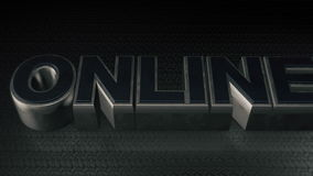 Metal 3D Text ONLINE with reflection royalty free illustration
