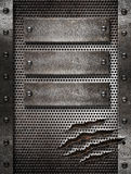 Metal damaged grate background with rivets Royalty Free Stock Photography