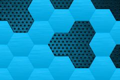 Metal dark background with blue steel hexagons. Vector 3d illustration stock illustration