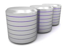 Metal Data Canister Archive. An illustration of three metal data canister archives on a white  background Royalty Free Stock Photography