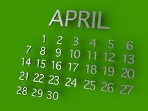 Metal de April Calender 3D no fundo verde Foto de Stock Royalty Free