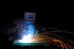 Metal de autógena del trabajador Foto de archivo libre de regalías