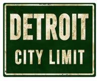 Metal de la muestra del límite de ciudad de Detroit imágenes de archivo libres de regalías