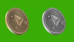 Metal de las monedas de Cryptocurrency, Tron stock de ilustración