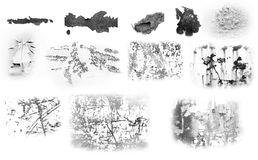 Metal decay impressions. Set of 12 metal defects and decay impressions Stock Photos