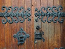 Metal decoration. Decoration of an old wooden door Royalty Free Stock Images