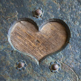 Heart-shaped metal decoration on Door Royalty Free Stock Images