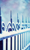Metal decorative fence fragment with snow Royalty Free Stock Photography