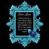 Metal dekoraci błękitna rama z kwiatem Zdjęcia Royalty Free