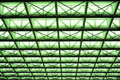Metal design of an interior in a modern building in green light Royalty Free Stock Photo