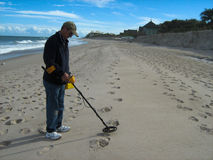 Metal Detecting at Beach Royalty Free Stock Images