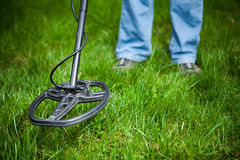 Metal detector in action Royalty Free Stock Images