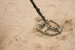 Metal detector coil on the beach royalty free stock images