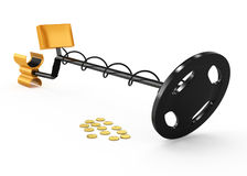Metal detector and coins Stock Photo