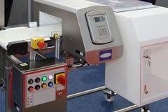 Food metal detector. Metal detector at production line in food factory royalty free stock image