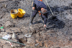 Metal Detectorist at Archaeological Dig. From the recent dig at South Hylton which is looking for `Sunderland`s Forgotten Stones` or `Brigg Stones` believed to royalty free stock image