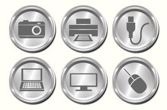 Metal Device Buttons Stock Photo