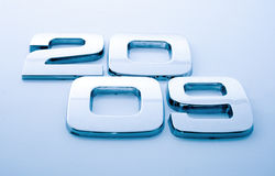 Metal digits - 2009. / blue tone stock photo