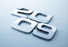 Metal digits - 2009. / blue tone stock image
