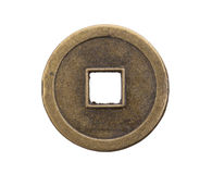 Metal Disc Or Coin With Hole Royalty Free Stock Photo