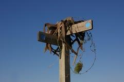 Metal do arame farpado do sinal de Bridleway Fotografia de Stock