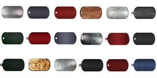 Metal dog tag mega pack. real texture on  background. Royalty Free Stock Photos