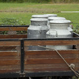 Metal dojne puszki na rolnik ciężarówce obraz stock