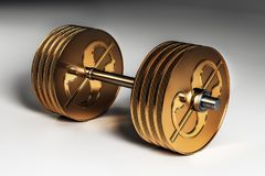 Metal dollar dumbbell. 3d image of gold metal dollar dumbbell concept. 3D render Royalty Free Stock Image