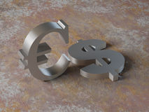 Metal dollar and euro over  rust backgrounds Royalty Free Stock Photo