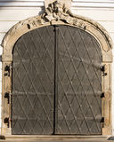 Metal door. Old metal iron entrance door in Prague Little quarter Royalty Free Stock Image