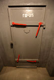 The metal door in the bomb shelter Stock Photo