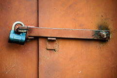 The metal door closed on the lock Stock Images