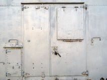 Metal door. Closed metal door of refrigerator stock photography