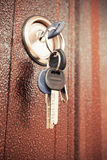 Metal door fragment with keys in keyhole Royalty Free Stock Photos