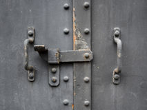 Metal Door gate Handle with lock textured surface Stock Photography