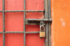 Metal door with lock Royalty Free Stock Photography