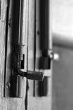 Metal door lock. Beautiful shot of metal door lock Stock Photo