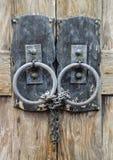 Metal Door Lock and Chain Stock Photo