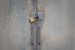 Metal door locked Stock Photo