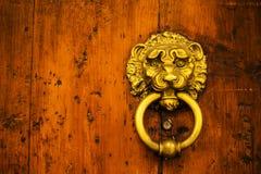Metal door rails on wooden door.  Royalty Free Stock Image