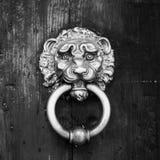 Metal door rails on wooden door.  Royalty Free Stock Images