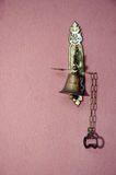 Metal doorbell antique. On the wall Royalty Free Stock Photos