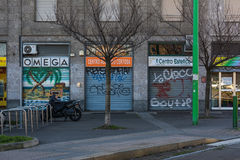 Metal Doors Italy Milan Shops Graffiti Outdoors Typical Scene in Royalty Free Stock Images
