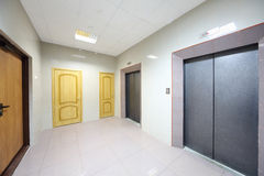 Metal doors to elevators and offices Royalty Free Stock Photo